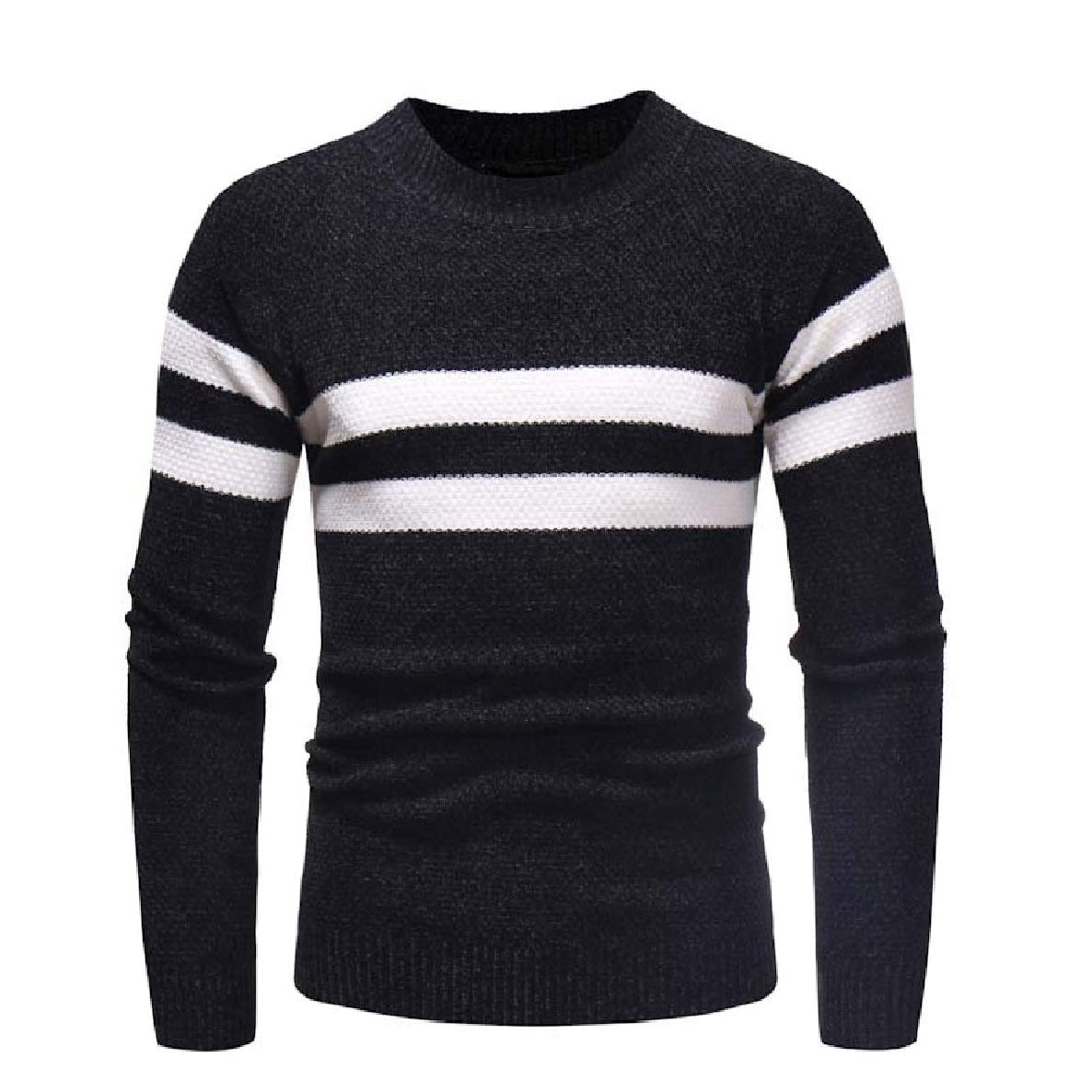 VividYouMen Long-Sleeve Pullover Knit Comfy Relaxed-Fit O-Neck Jersey Sweaters