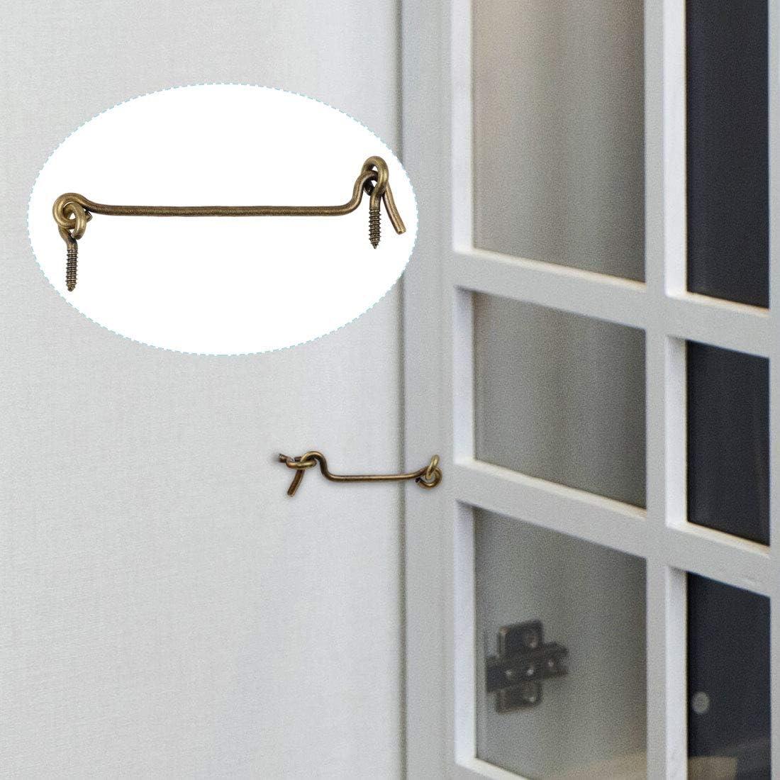 sourcing map Casa Giardino Gancio Cabina Privacy Attrezzo con Gancio Tono Bronzo Finestra Scorrevole Porta Granaio Capannone 20 cm 1pcs