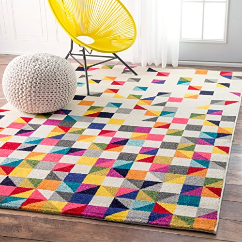 Contemporary Geometic Triangle Mosaic Multi Area Rugs, 4 Feet 1 Inch by 6 Feet (4′ 1″ x 6′)