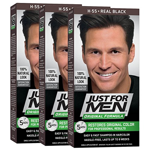 Just For Men Original Formula Men's Hair Color, Real Black (Pack of 3) from Just for Men