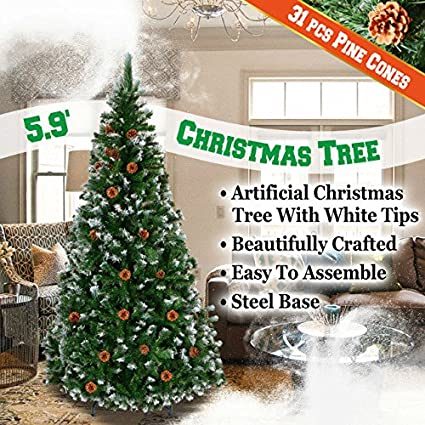 Christmas Tree Spray Snow.Benefitusa Green 5 6 7 7 5 Snow Tipped Christmas Tree With Pinecones Artificial Realistic Natural Branches Unlit With Steel Stand 6 With 750