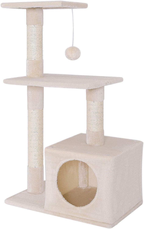 dibea Árbol rascador árbol para escalar árbol rascador para gatos Altura 85 cm Beige