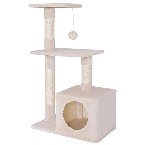 Dibea KB00250 Árbol Rascador para Gatos, Escalador, Altura 80 cm, Color Beige