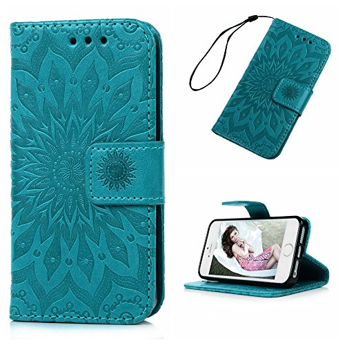 iPhone SE Case, iPhone 5S 5 Case, MOLLYCOOCLE Wallet Case Embossed Sunflower Blue PU Leather Kickstand Magnetic Flip Folio Card Holders Slots Hand Strap Cover Case for iPhone SE 5S S