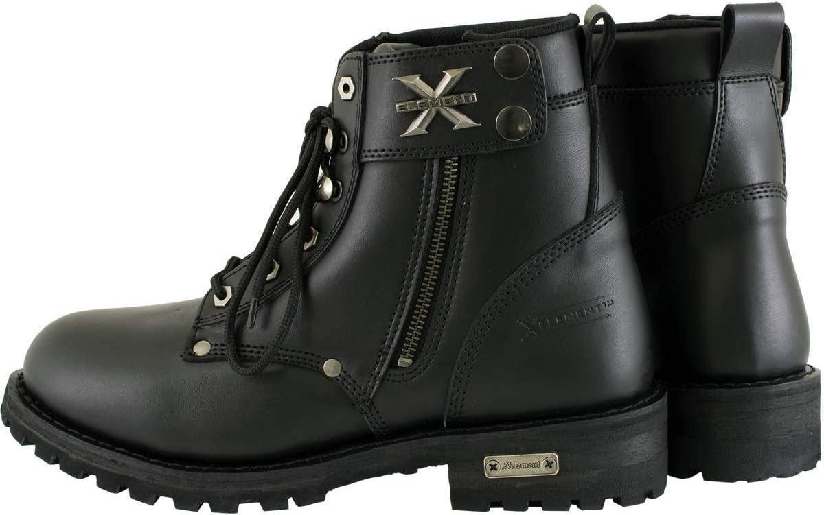 9 Xelement 1505 Mens Black Advanced Lace Up Motorcycle Boots