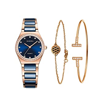 c96849f32 Ladies Quartz Watch Women bracelet set-MAMONA Rose Gold Blue Ceramic and Stainless  Steel Watch Set 3875LBLT: Amazon.co.uk: Watches