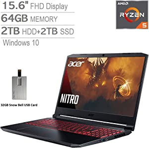 "2020 Acer Nitro 5 15.6"" FHD Gaming Laptop Computer, AMD Ryzen 5-4600H Processor, 64GB RAM, 2TB HDD+2TB SSD, GeForce GTX 1650, Backlit Keyboard, HD Webcam, Windows 10, Black, 32GB Snow Bell USB Card"