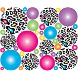 Muticolored Leopard Print Polka Dot Wall Decals Stickers in Hot Pink, Blue, Purple, Green, Yellow, and Orange