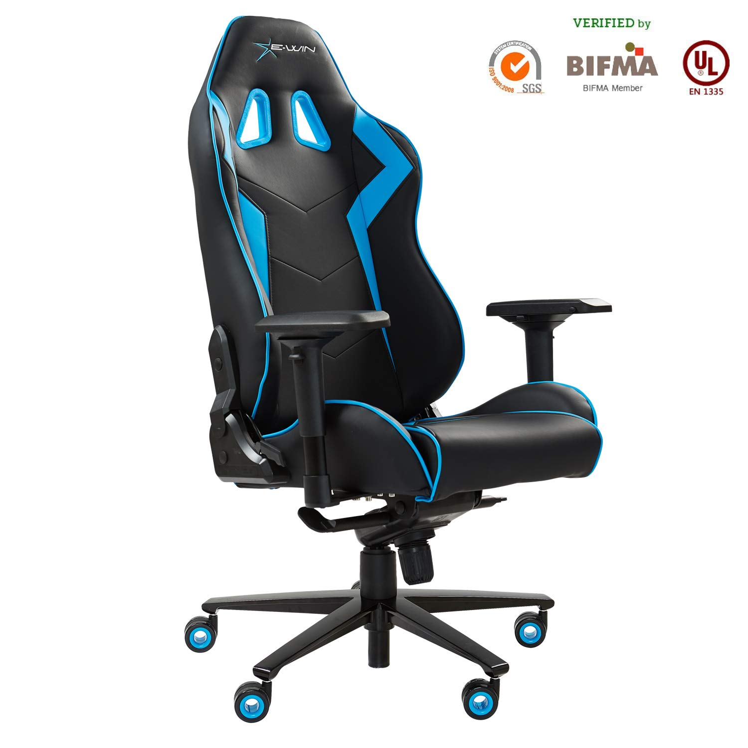 Ewin Gaming Chair 4D Armrests Memory Foam PU Leather with Headrest Lumbar Support Ergonomic High-Back Racing Computer Office Chair Champion Series Blue