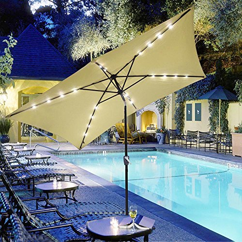 Yescom 10x6.5ft Rectangle Outdoor Patio Beach Market Aluminium Umbrella Solar Powered LED Light Crank Tilt Beige