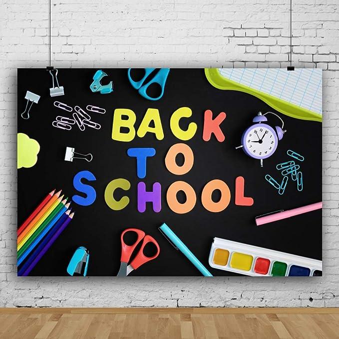OERJU 10x10ft Cartoon Back to School Themed Photography Background Students Backpack Books Pens Alarm Clock School Building School Season Photo Backdrop Kids Party Decor Banner Portrait Photoshoot