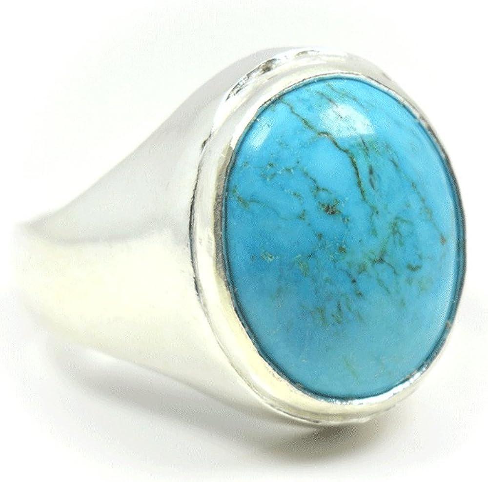 Jewelryonclick Line Turquoise pierre pr/écieuse 6/CT Naturel authentique 92.5/Bague en argent sterling Bold pour homme