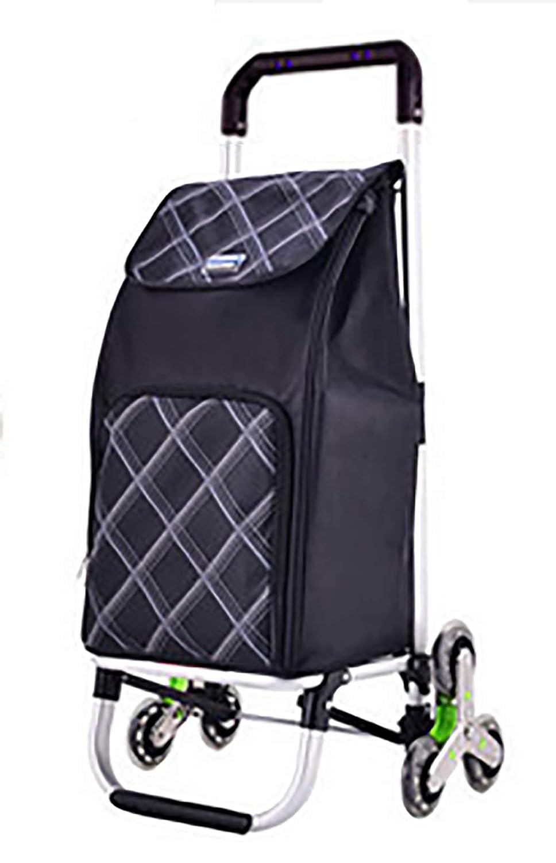 YGUOZ 6 輪 折りたたみ ショッピングカート ショッピングキャリー、軽量 エコ 買い物キャリー、取り外し可能なバッグ、アルミフレームをを含む(45L),Striped black  Striped black B07MQDZ5KZ