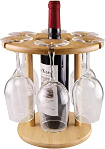 Roponan Wine Glass Holder, Bamboo Wine Glass Drying Rack, Freestanding Stemware Storage, Holds Up To 6 glasses and 1 Bottle