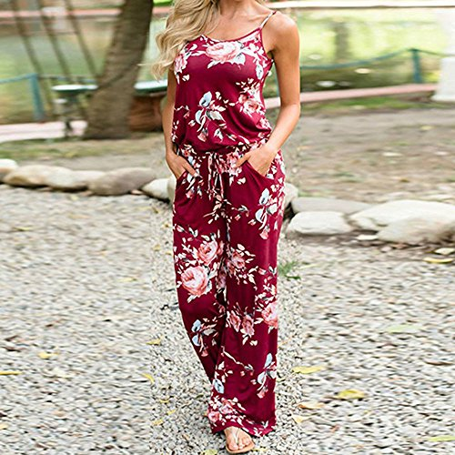 98d98083ce4e delicate Handyulong Women Jumpsuits Casual Spaghetti Strap Floral Print  Long Pants Rompers Overalls For Teen Girls
