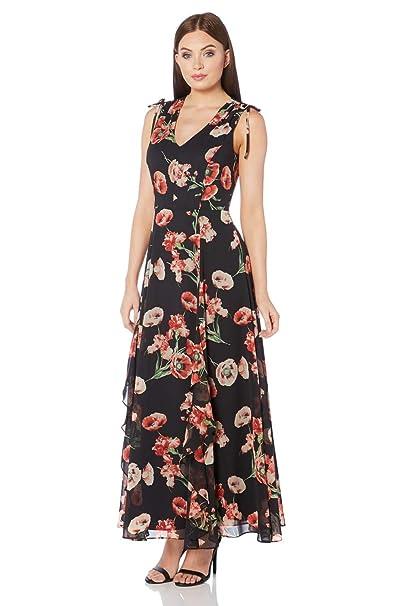 90f2c5cd0f1e2 Roman Originals Women Poppy Print V-Neckline Maxi Length Dress Ladies  Sleeveless Floral Party Summer Holiday Wear Boho Hippy Chiffon Long Mother  of The ...