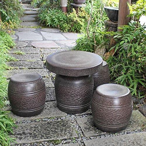 信楽焼 16号窯肌松皮 テーブルセット ガーデンテーブル テーブル セット 信楽焼き 陶器 オシャレ te-0015 B06XTLYHSK