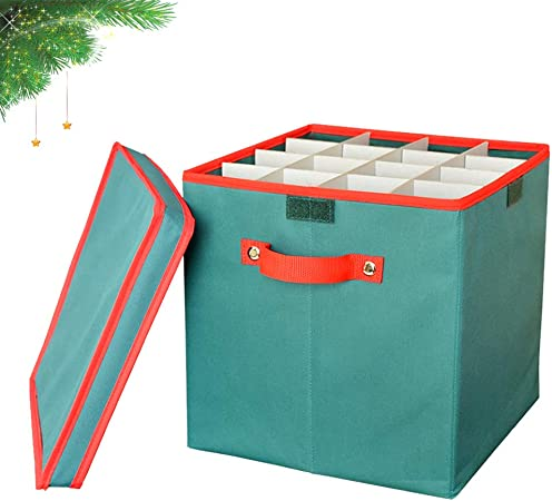 Adorno de Navidad caja de almacenaje plegable, Didadi vacaciones árbol de Navidad decoraciones papelera en el pecho con tapa y divisores extraíbles (con 4 bandejas con capacidad para 64 bolas), color verde: