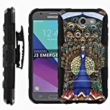 Samsung Galaxy J3 Emerge [2017] Phone Cover [Case86] [Black/Black] Dual Hybrid Armor Phone Case [Screen Protector Included] - [Peacock]