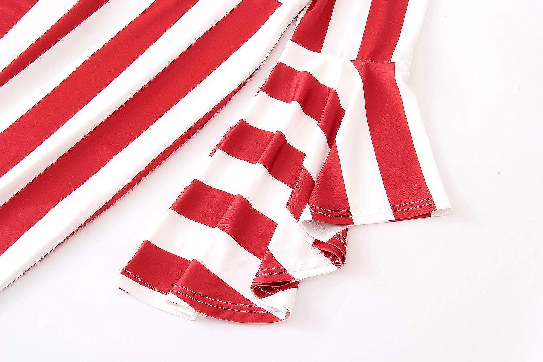 YUHENG Plus Size Dress for Women Fashion Round Neck Stripe Long//Short Sleeve Elegant Party Dresses