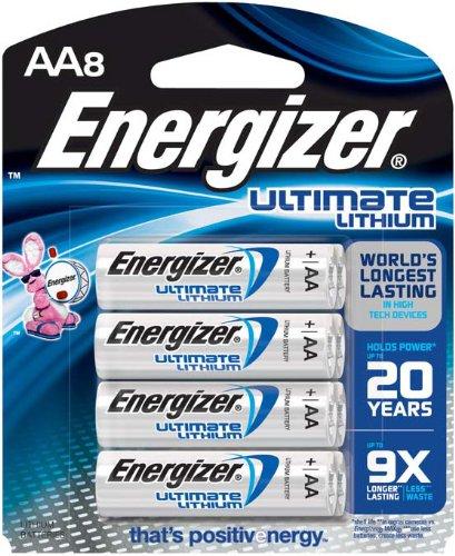 Energizer Ultimate pilas AA de litio, la batería duradera más larga del mundo para dispositivos de alta tecnología, cuenta 8