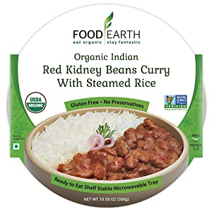Food Earth Organic Indian Red Kidney Beans Curry with Steamed Rice - Ready to Eat Meals - Indian Food - Organic Microwaveable Meals - Pre Prepared Meals - (6 PACK)