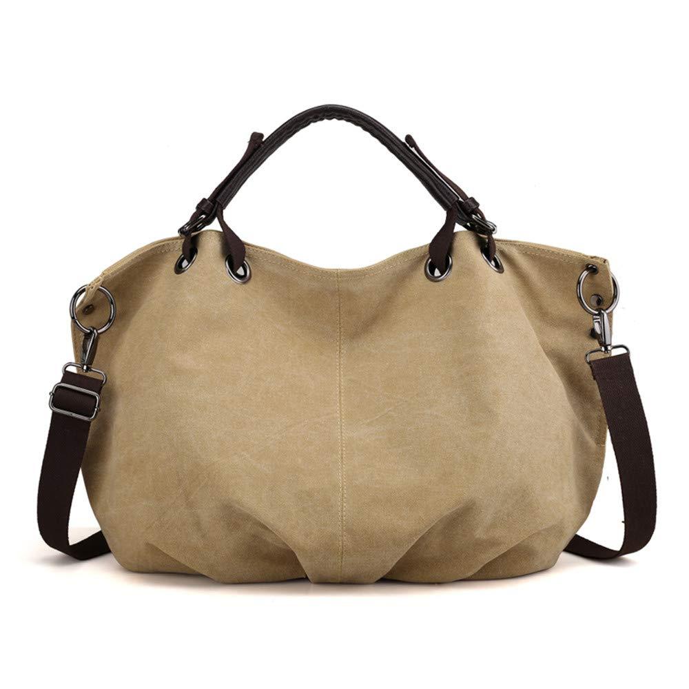 SJMMBB Women's Bag, Canvas Bag, Satchel, Fashion Bag, Handbag, Large Capacity Handbag,Khaki,45X37X17Cm