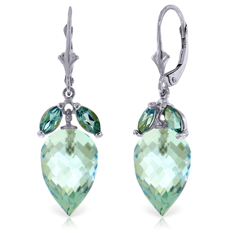 ALARRI 23.5 Carat 14K Solid White Gold Love At The Beach Blue Topaz Earrings