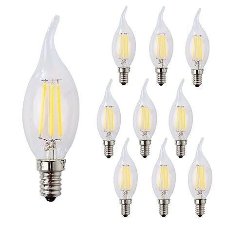 wulun E14 LED vela bombillas de filamento 4 W, equivalente a 40 W transparente vela bombillas, ...