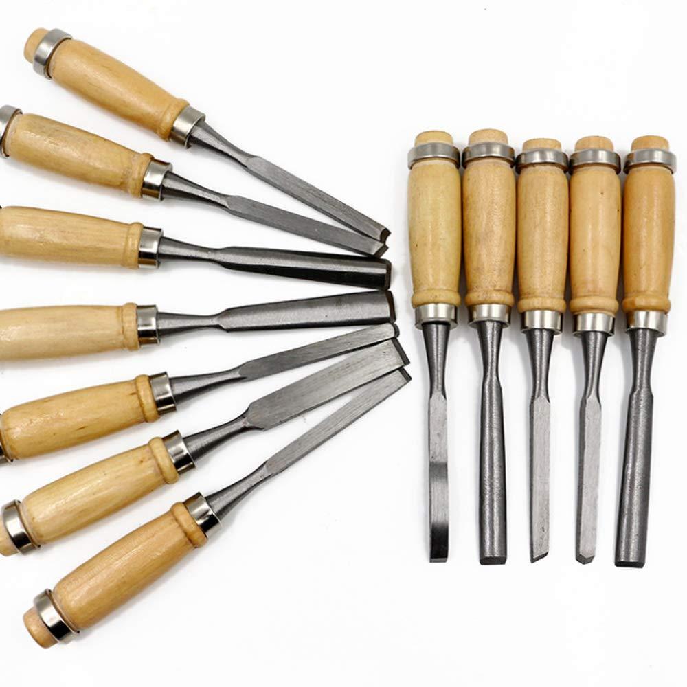Aisamco Set di strumenti per scolpire il legno Set di strumenti per scolpire il legno 18 pezzi Strumenti professionali per la lavorazione del legno con custodia Grande per principianti
