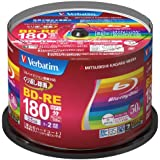 Verbatim Blu-ray Disc 50 pcs Spindle - 25GB 2X BD-RE Rewritable Bluray - Inkjet Printable
