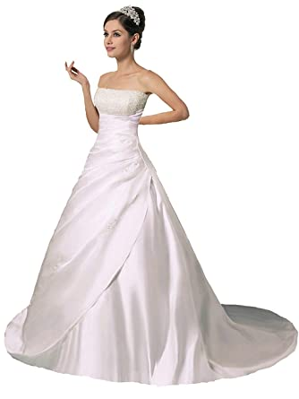 b7991aa1e72f Vantexi Women's Strapless Satin Crystal Wedding Dress Bridal Gown Ivory  Size 0