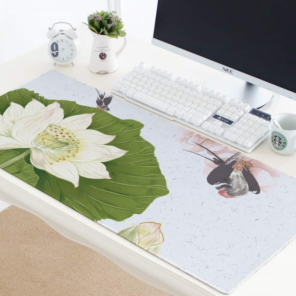 Tzsysb Patrón de la Impermeable planta Impermeable la gruesa alfombrilla de ratón Súper gran estilo chino Alfombrilla de ratón antideslizante Teclado almohadilla Alfombra de escritorio de oficina,90cm×50cm×0.3cm 5d8842