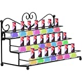 AISHN Nail Polish Rack / 3 Tiers Metal Heart Design Nail Polish Organizer Shelf Rack /Table Top Display Rack Stand(Black)