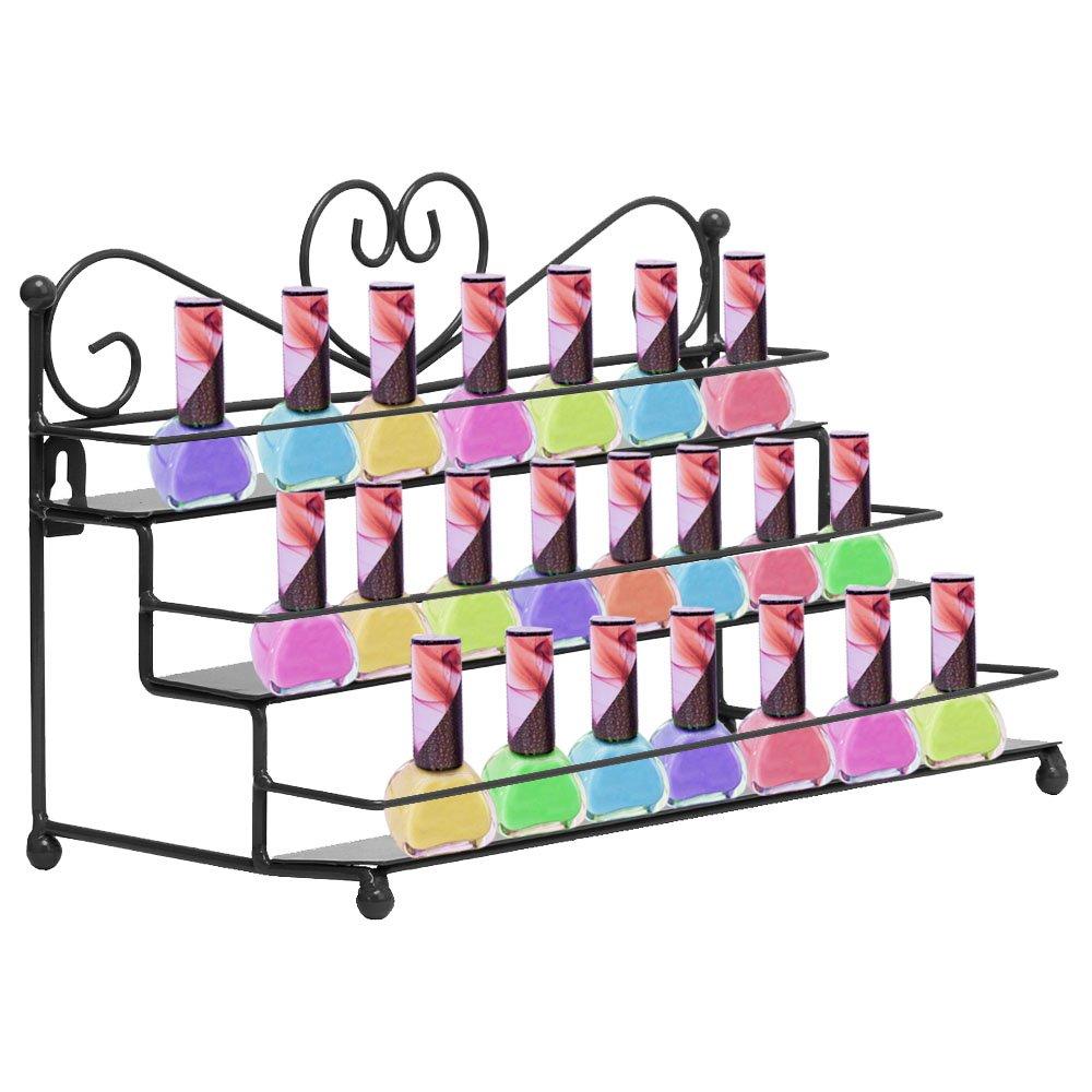 AISHN Nail Polish Rack with Metal Heart Design, 3 Tiers Nail Polish Storage Display Makeup Organizer Shelf Case