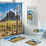 aolankaili Designer Bath Polyester 5-Piece Bathroom Set, Famous Canyon Cliff with Dramatic Cloudy Sky Southwest Terrain Place Print bathroom rugs shower curtain/rings and Both Towels(Large size)