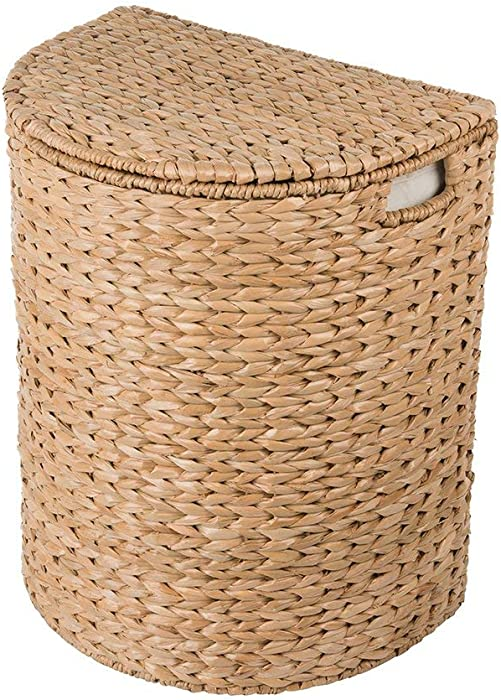 Kouboo Sea Grass Half Moon Basket with Removable Liner, Natural Color Laundry Hamper, One Size, Brown
