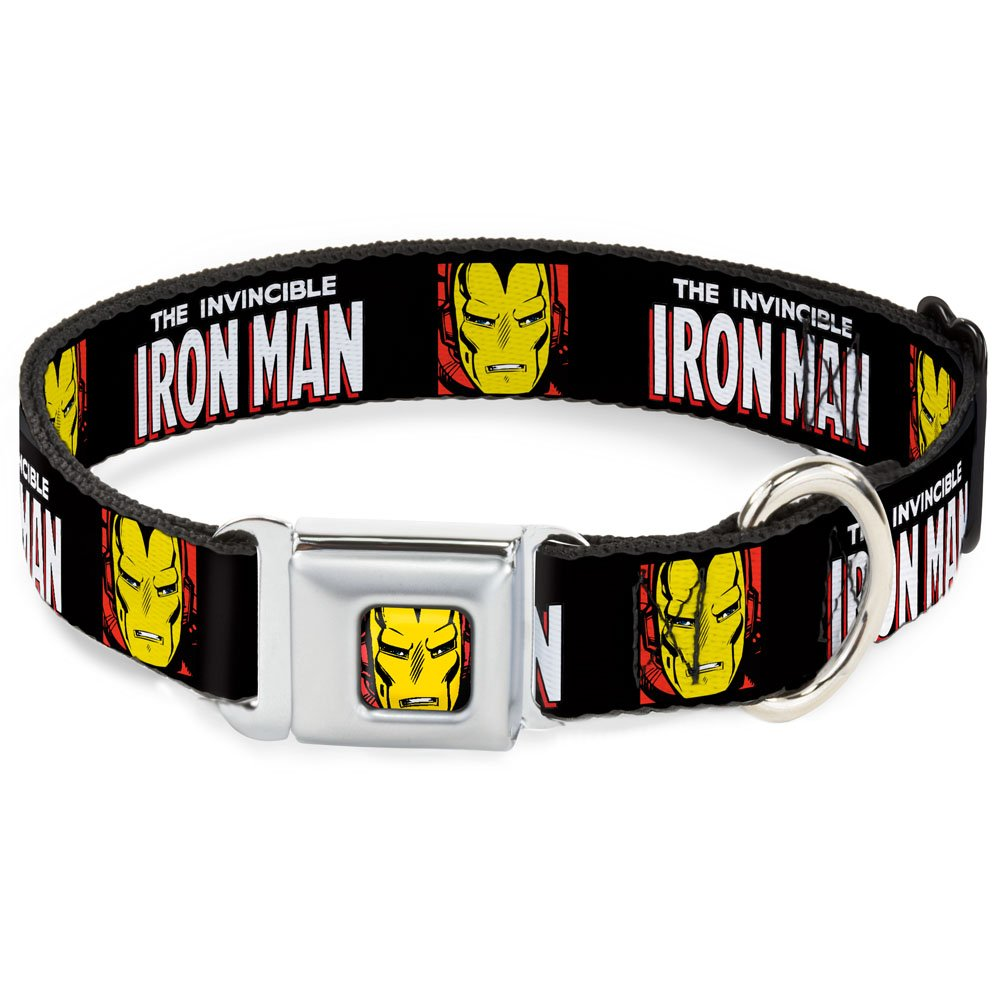 1.5\ Buckle-Down DC-WIM001-WL Dog Collar Seatbelt Buckle, The Invincible Iron Man with Face, 1.5  by 18-32