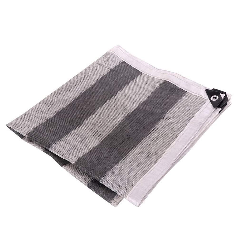 LPD-迷彩ネット グレー/ホワイト ストライプ 90% 6ステッチ 暗号化 フラワーズ バルコニー シェードネット、 9サイズ (Color : Gray/白い, Size : 4×6m) Gray/白い 4×6m