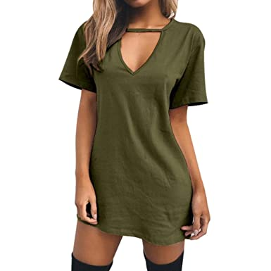 cfb224e657e3 Women's [Choker V Neck] Casual Long Sleeve [T-shirt Dress] Soft Stretchy  Party Ladies Dresses Blouse Tops at Amazon Women's Clothing store: