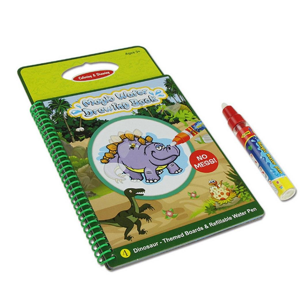 Transer® Toys for Kids - Magic Pen Doodle Water Drawing Board Book- Baby Painting Toy Gift 25.3*15cm (Green Dinosaur)