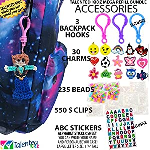 11,600+ Authentic Rainbow Mega Refill Loom by Talented Kidz: Includes 10,750 Premium Quality Rubber Bands, 3 Backpack Hooks, 30 Charms, ABC Stickers, 235 Beads, 550 Clips, DIY Personalized Organizer