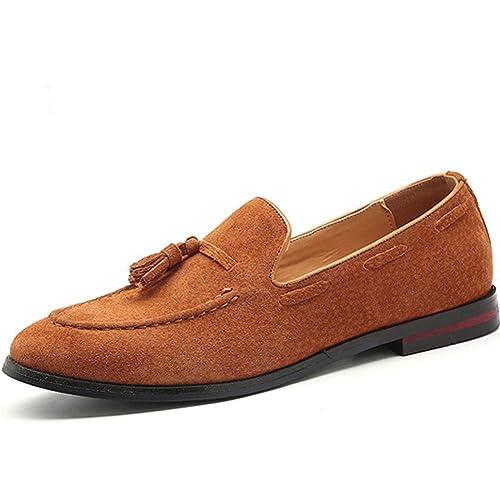 Hombres Mocasines Zapatos Casuales borlas Cuero Gamuza Formal Zapatos: Amazon.es: Zapatos y complementos