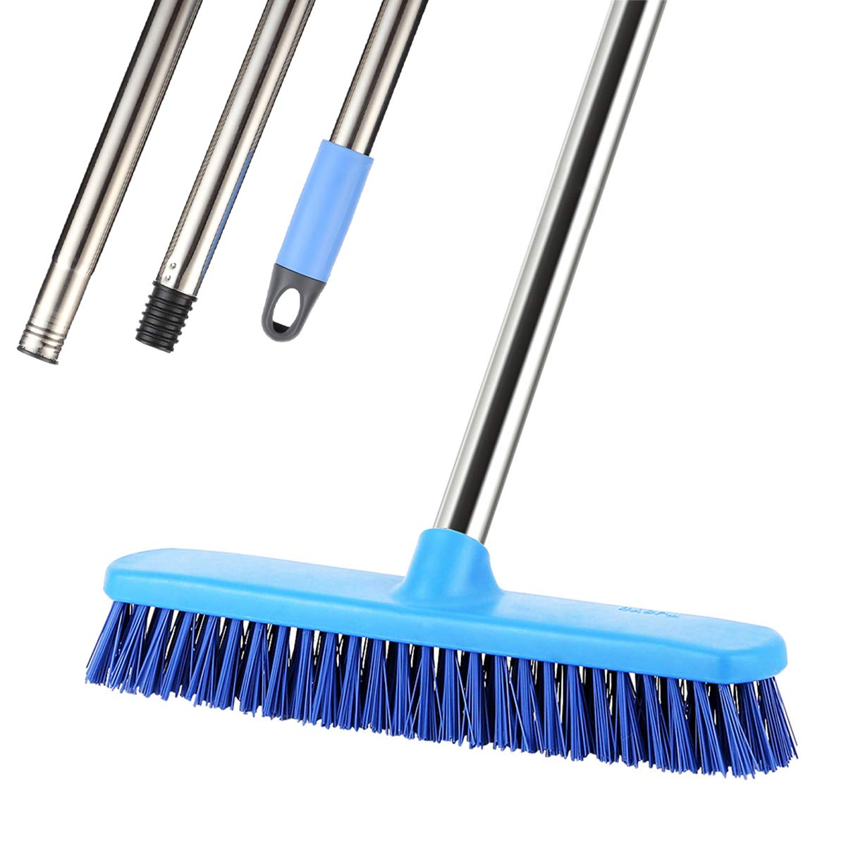 Floor Scrub Brush Commercial, YCUTE 51.6' Removable Long Handle- 12.2' Multi-Surface Stiff Brush for Tile Grout, Concrete, Recesses, Deck and Garage YCUTE 51.6 Removable Long Handle- 12.2 Multi-Surface Stiff Brush for Tile Grout