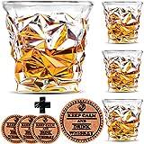 Diamond Whiskey Glasses - Set of 4 - by Vaci + 4 Drink Coasters, Ultra Clarity Crystal Scotch Glass, Malt or Bourbon, Glassware Gift Set
