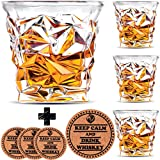Diamond Whiskey Glasses - Set of 4 - by Vaci + 4 Drink Coasters, Ultra Clarity Crystal Scotch Glass, Malt or Bourbon, Glassware Gift Set