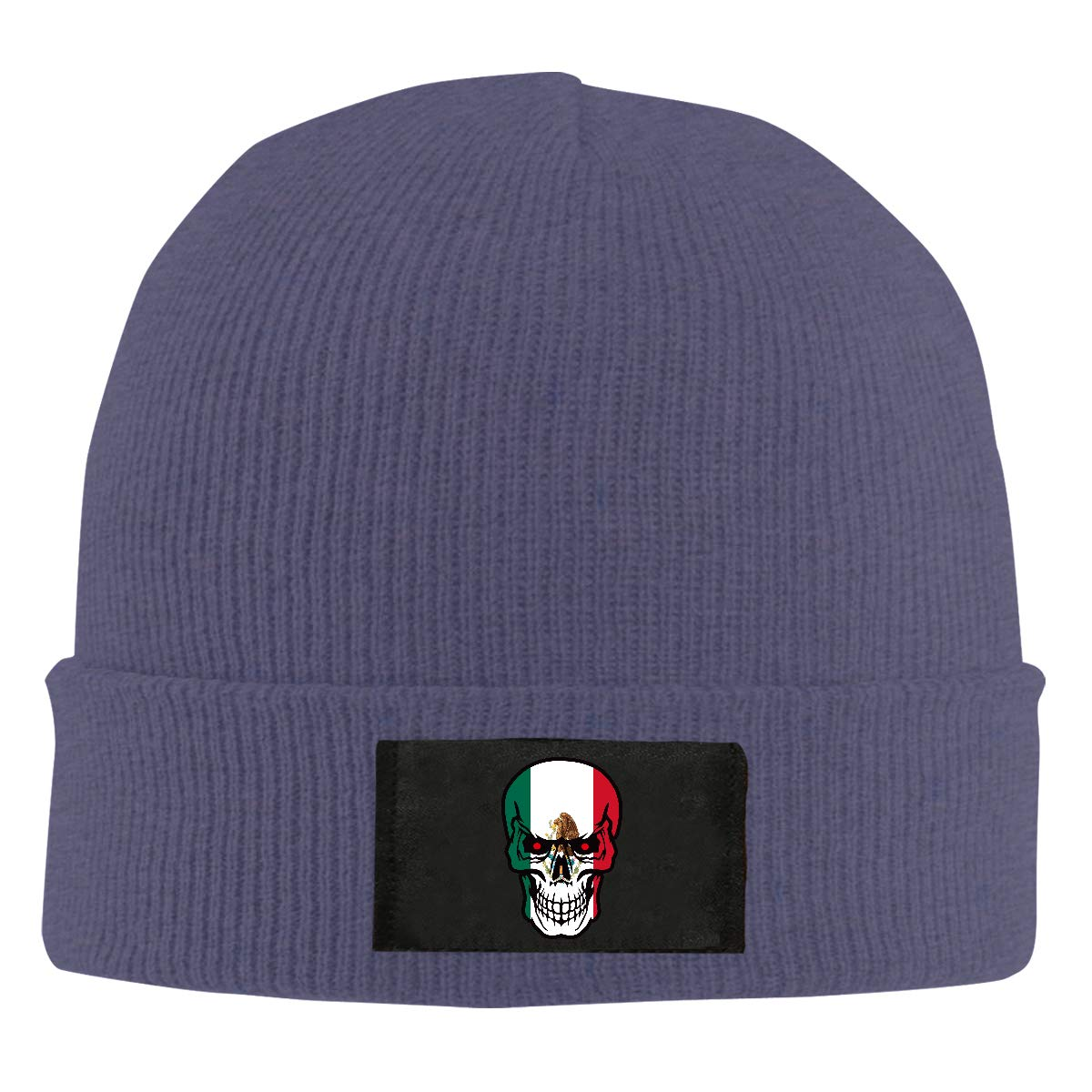 Mexico Flag Skull Men Women Knitted Hat Stretchy Beanie Cap