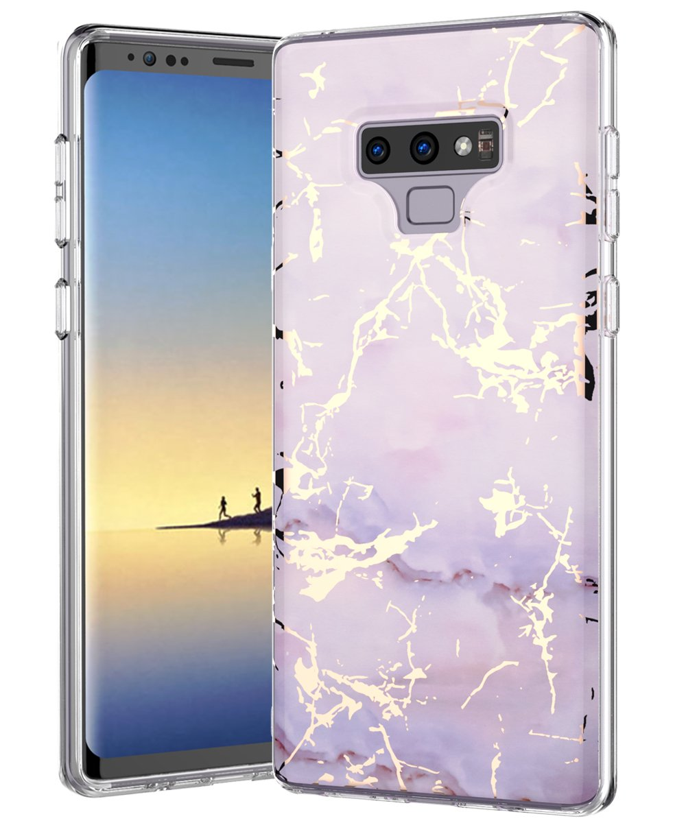Blue Green Galaxy Note 9 Case,Samsung Galaxy Note 9,Spevert Marble Pattern Hybrid Hard Back Soft TPU Raised Edge Ultra-Thin Slim Protective Case Cover for Samsung Galaxy Note 9 2018