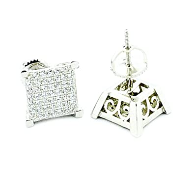 earring shaped diamond product earrings jewelry hop men out store ear hip silver style square stud pave simulated cz iced micro gold screwback