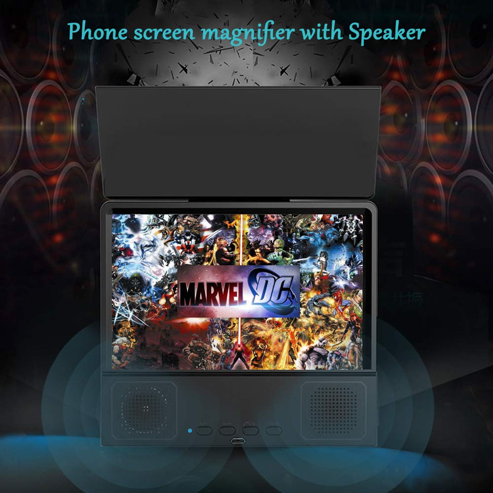 ZGYQGOO 8/'/' Screen Magnifier Smart Mobile Phone Movies Amplifier HD Portable Phone Projector with Bluetooth Speaker for All Smartphones Android and iPhone